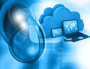 3d render of Electronic Devices with cloud server.
