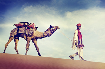Indian Man Camel Desert Travel Concepts
