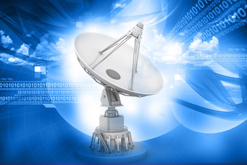 3d Satellite dish transmission data on abstract background.