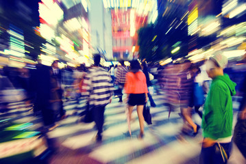 Crowd Pedestrian Walking Japan Concepts