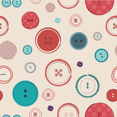 retro Vector seamless pattern. Bright colors buttons on dark
