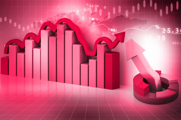 3d render of Business graph on abstract financial background.