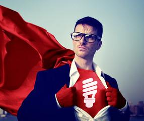 Strong Superhero Businessman Energy Concepts