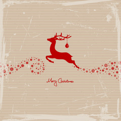 Flying Reindeer, Christmas Ball & Stars Red Scratches Paper
