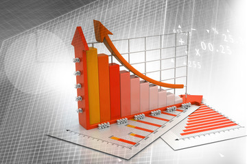 3d render of Business graph on abstract financial background .