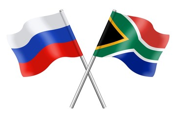 Flags: Russia and South Africa