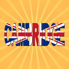 Cambridge flag text with sunburst illustration