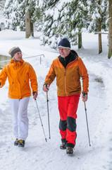 älteres Paar walkt in verschneitem Park