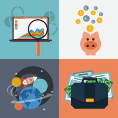 Seo analysis piggy bank space with rocket