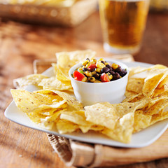 fire roasted black bean and corn salsa with chips