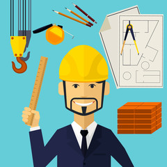Architect constructor worker at his work place