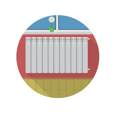 Flat icon for radiator in room