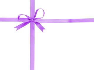 purple thin ribbon with bow cross