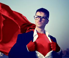 Strong Superhero Businessman Transforming