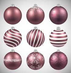 Set of realistic pink christmas balls.