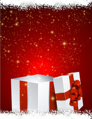Gift box red background.
