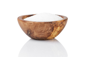 sugar in wooden bowl for cooking or spa