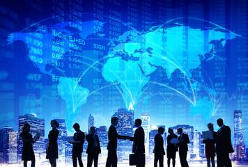 Business People Hand Shake Stock Exchange City