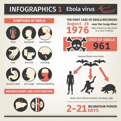 Infographics. Ebola virus. Symptoms deaths.