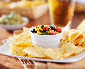 mexican fire roasted corn black bean salsa with beer