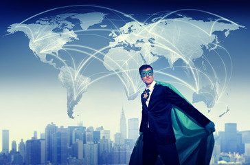 Superhero Businessman World Connection Concepts