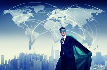 Superhero Businessman World Connection Concepts