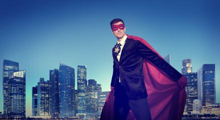 Superhero Businessman Power New York City Concept