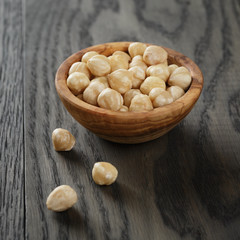 peeled hazelnuts in bowl