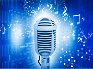Microphone on abstract musical background .