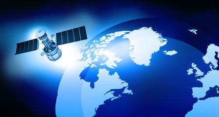 3d render of satellite is orbiting the Earth