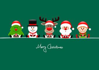 Card Tree, Snowman, Rudolph, Santa & Elf Gift Green