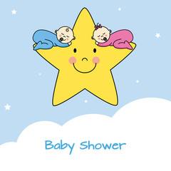 Card celebrate birth of twins. Twins sleeping in a star