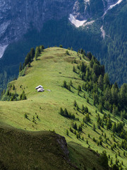 Mountain huts in the meadows, Dolomites