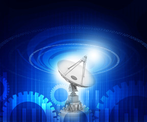 Satellite dish  antenna on tech background