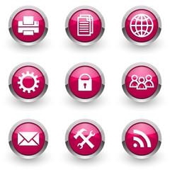 violet chrome vector icons set