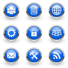 blue chrome vector icons set