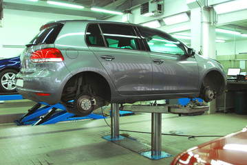Cars in the automotive service