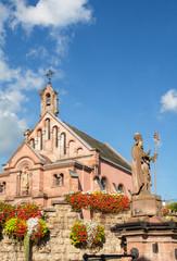 Eguisheim, la place du village en Alsace, Haut Rhin