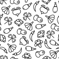 Vegetables ine seamless pattern