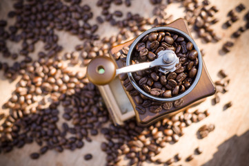 A coffee grinder with natural light