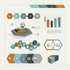 Set of hexagonal infographic elements.