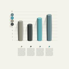 Business hexagonal column design graph.