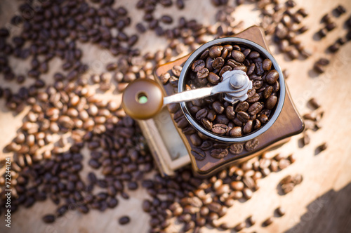 canvas print picture A coffee grinder with natural light