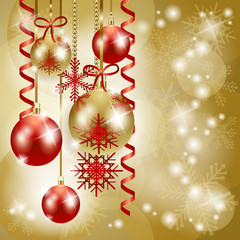 Christmas background in red and gold with copy space