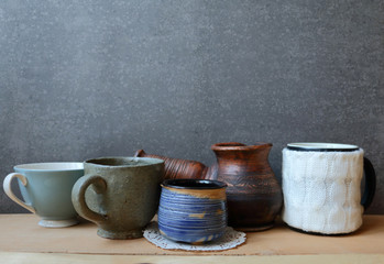 Christmas still life i with coffee and rustic ceramic kitchenwar