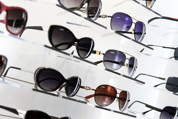 shop shelves with sunglasses