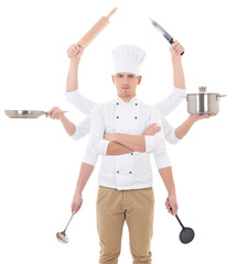 cooking concept -young man in chef uniform with 8 hands holding