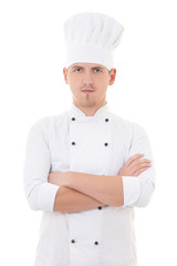 young man in chef uniform isolated on white