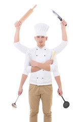 cooking concept -young man in chef uniform with 6 hands holding