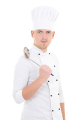 man in chef uniform with sauce spoon isolated on white